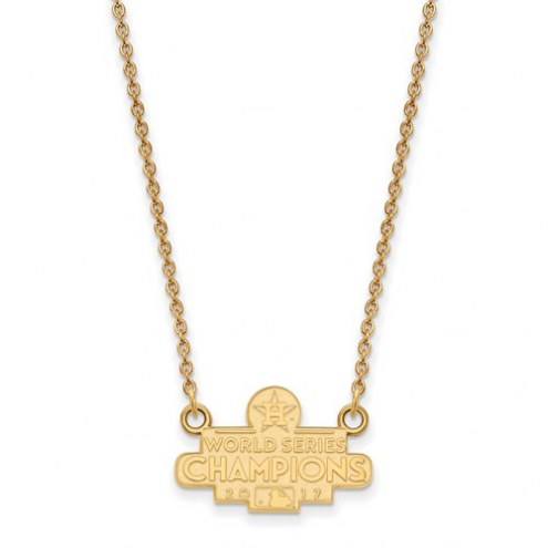 Houston Astros Sterling Silver Gold Plated Small Pendant with Necklace
