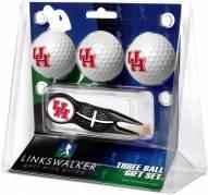 Houston Cougars Black Crosshair Divot Tool & 3 Golf Ball Gift Pack