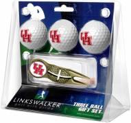 Houston Cougars Gold Crosshair Divot Tool & 3 Golf Ball Gift Pack