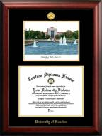 Houston Cougars Gold Embossed Diploma Frame with Campus Images Lithograph