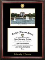 Houston Cougars Gold Embossed Diploma Frame with Lithograph