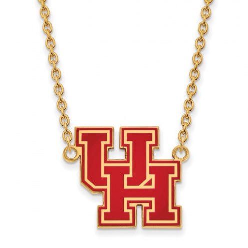Houston Cougars Sterling Silver Gold Plated Large Enameled Pendant Necklace