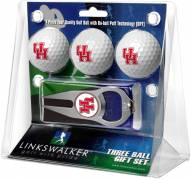 Houston Cougars Golf Ball Gift Pack with Hat Trick Divot Tool