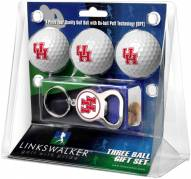 Houston Cougars Golf Ball Gift Pack with Key Chain