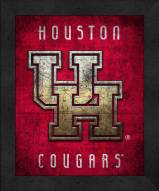 Houston Cougars Retro Logo Map Framed Print