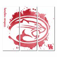 Houston Cougars Triptych Watercolor Canvas Wall Art