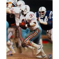 """Houston Oilers Earl Campbell Running White Jersey w/ """"HOF"""" Signed 16"""" x 20"""" Photo"""