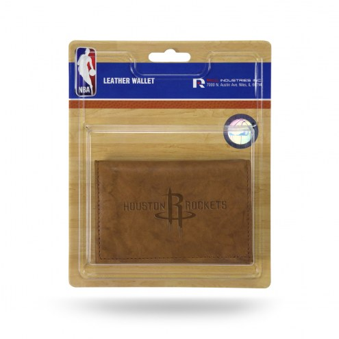 Houston Rockets Brown Leather Trifold Wallet