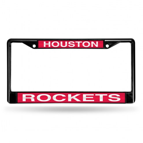Houston Rockets Laser Black License Plate Frame
