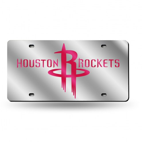 Houston Rockets Silver Laser License Plate