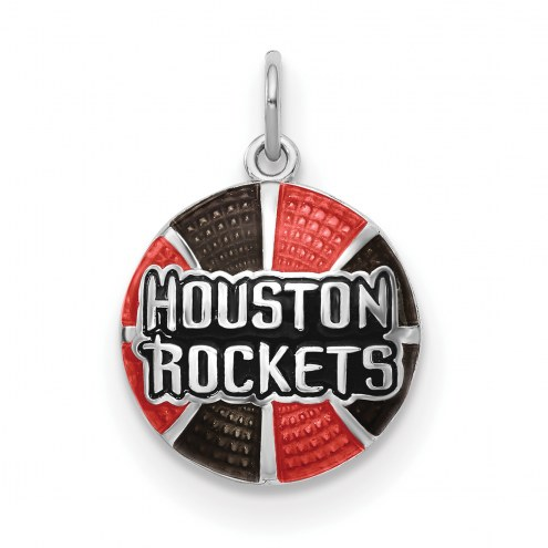 Houston Rockets Sterling Silver Enameled Basketball Pendant