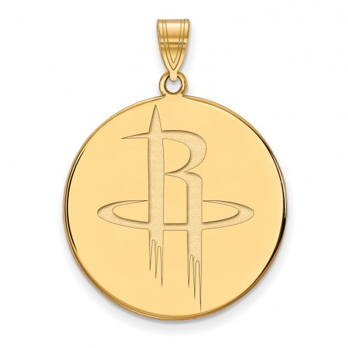 Houston Rockets Sterling Silver Gold Plated Extra Large Pendant