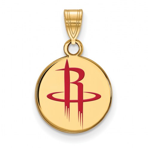 Houston Rockets Sterling Silver Gold Plated Small Enameled Pendant