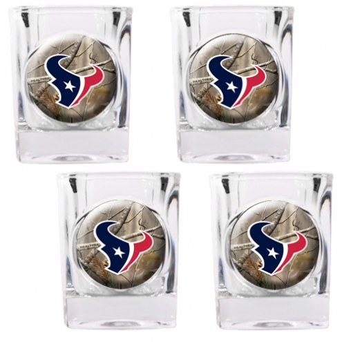 Houston Texans Open Field 4-Piece RealTree Square Shot Glass Set