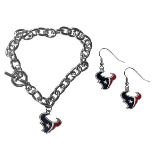 Houston Texans Chain Bracelet & Dangle Earring Set
