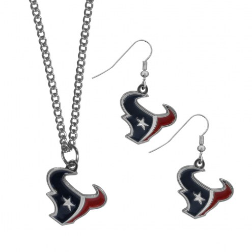 Houston Texans Dangle Earrings & Chain Necklace Set