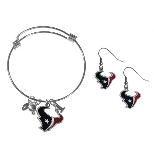 Houston Texans Dangle Earrings & Charm Bangle Bracelet Set
