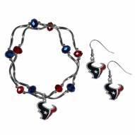 Houston Texans Dangle Earrings & Crystal Bead Bracelet Set
