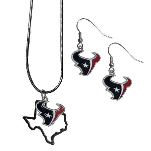 Houston Texans Dangle Earrings & State Necklace Set