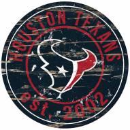 Houston Texans Distressed Round Sign