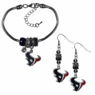 Houston Texans Euro Bead Earrings & Bracelet Set