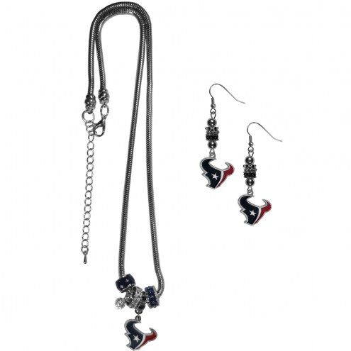 Houston Texans Euro Bead Earrings & Necklace Set