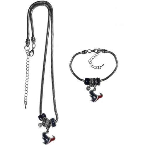 Houston Texans Euro Bead Necklace & Bracelet Set