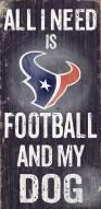 Houston Texans Football & Dog Wood Sign
