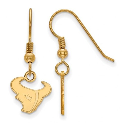 Houston Texans Sterling Silver Gold Plated Extra Small Wire Dangle Earrings
