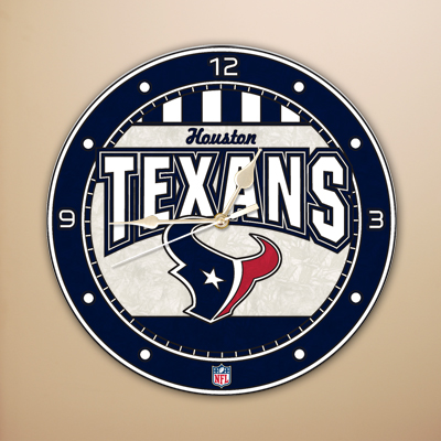 Houston Texans NFL Stained Glass Wall Clock