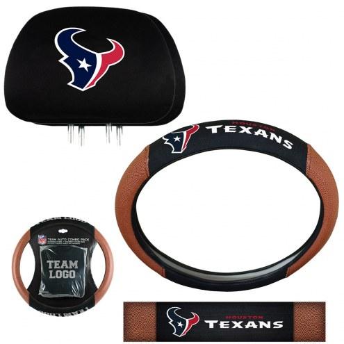 Houston Texans Steering Wheel & Headrest Cover Set