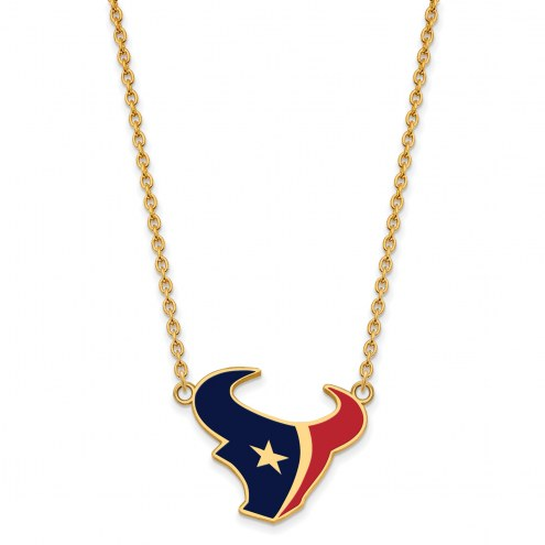 Houston Texans Sterling Silver Gold Plated Large Pendant Necklace