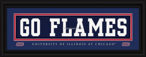 """Illinois-Chicago Flames """"Go Flames"""" Stitched Jersey Framed Print"""