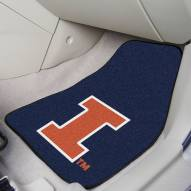 Illinois Fighting Illini 2-Piece Carpet Car Mats