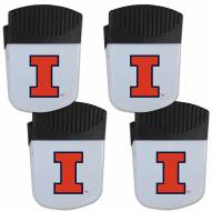 Illinois Fighting Illini 4 Pack Chip Clip Magnet with Bottle Opener