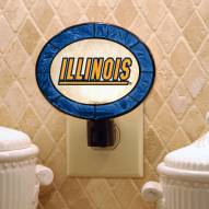 Illinois Fighting Illini Art Glass Night Light