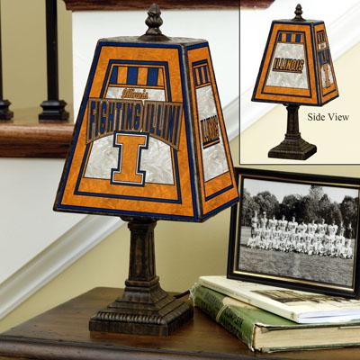Illinois Fighting Illini Art Glass Table Lamp