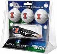 Illinois Fighting Illini Black Crosshair Divot Tool & 3 Golf Ball Gift Pack