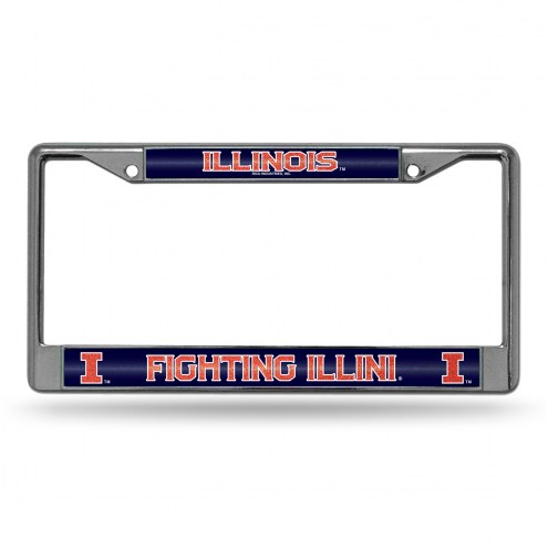 Illinois Fighting Illini Chrome Glitter License Plate Frame