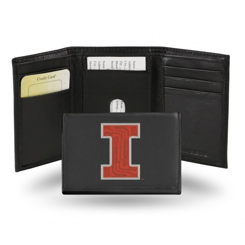 Illinois Fighting Illini College Embroidered Leather Tri-Fold Wallet