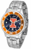 Illinois Fighting Illini Competitor Steel AnoChrome Color Bezel Men's Watch