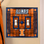 Illinois Fighting Illini Glass Double Switch Plate Cover