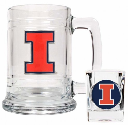 Illinois Fighting Illini Glass Mug & Shot Glass Set