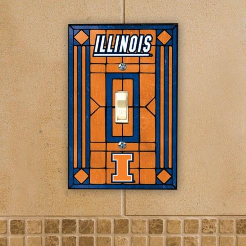 Illinois Fighting Illini Glass Single Light Switch Plate Cover