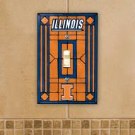Illinois Fighting Illini Glass Single Light Switch Plate Cover