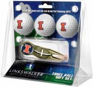 Illinois Fighting Illini Gold Crosshair Divot Tool & 3 Golf Ball Gift Pack
