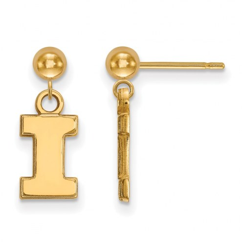 Illinois Fighting Illini Sterling Silver Gold Plated Dangle Ball Earrings