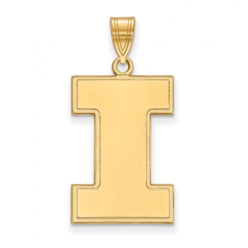 Illinois Fighting Illini Sterling Silver Gold Plated Extra Large Pendant