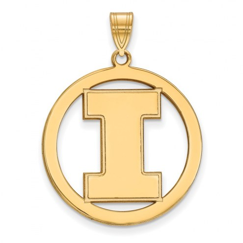 Illinois Fighting Illini Sterling Silver Gold Plated Large Circle Pendant