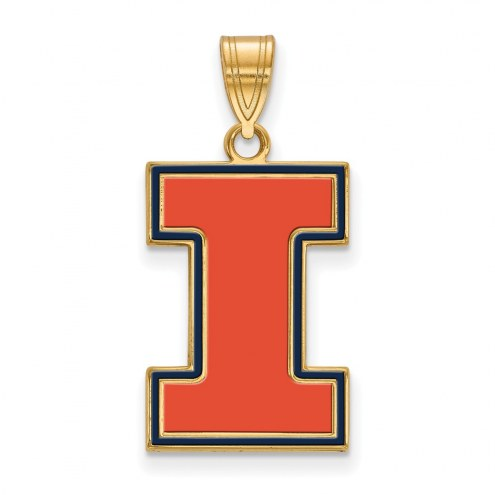Illinois Fighting Illini Sterling Silver Gold Plated Large Enameled Pendant